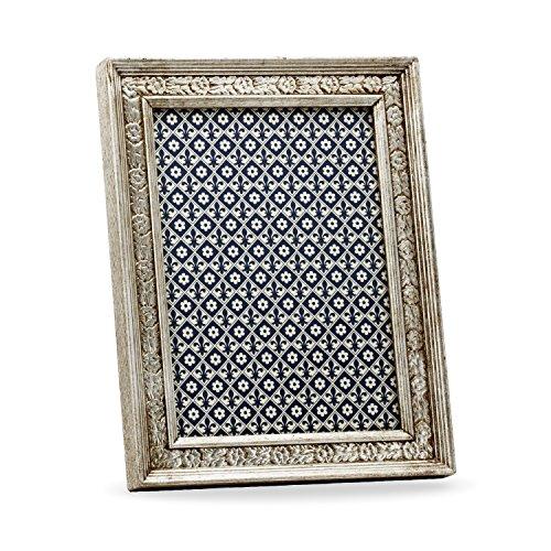 Alberobello Bilderrahmen, Holzrahmen, Handgearbeitet in italienischem Stil, Fotorahmen, Fotogröße 10x15 cm,Geschenkbox, Silver (15x20 cm) - Italienische Holzrahmen