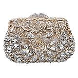 Bonjanvye Metallic Rose with Rhinestone Clutch Purses and Handbags for Womens Gold