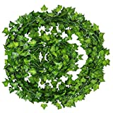 Guizen 12 Pcs Hojas de Hiedra vegetación Artificial para el hogar Cocina jardín Boda Boda casa decoración de la Pared