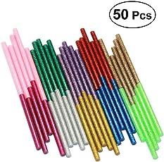 50pcs Glitter Glue Sticks, 10 Colors Adhesive Hot Mini Melt Glue Sticks (Grey Gold & Pink & Light Purple & Gold & Silver & Bright Red & Rose Red & Blackish Green & Light Green & Royal Blue)