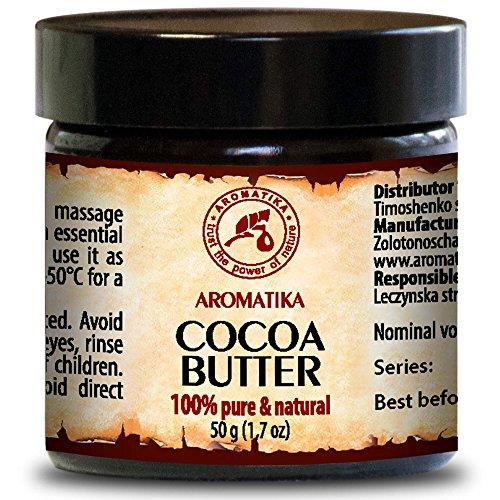 Kakaobutter Unraffiniert Native - 100% Rein Und Natürlich 50g Glasflasche - Burkina Faso Südafrika - Körperbutter - Intensive Pflege Für Gesicht - Körper - Haare - Haut - Nägel - Hände - Lippen - Für Schönheit - Massage - Wellness - Kosmetik - Körperpflege - Cocoa Butter -