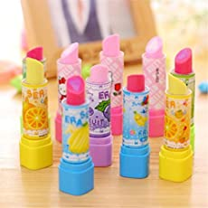 Days Off Lipstick Shaped Eraser for Kids Birthday Party Return Gift (Pack of 6)