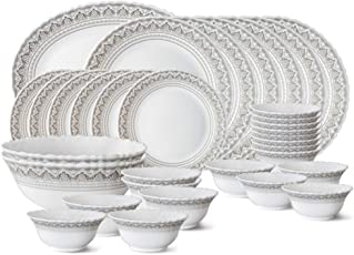 Larah by Borosil Classic Opalware Dinner Set, 33-Pieces, White