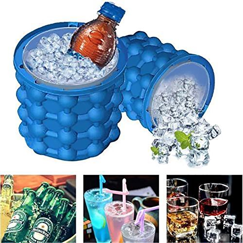 Ice Cube Maker Ice Magic Genie Eimer Küche Werkzeuge Maker Silikon Ice Bucket Maker für Home Party Travel Cocktails Bier Whiskey Getränke Größe S blau
