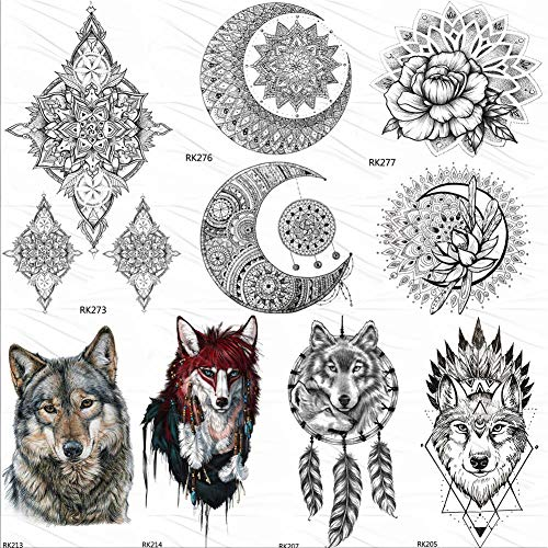 lihaohao Temporäre Tattoo-Aufkleberschwarz Lotus Tribal Buddha Temporäre Tattoos Aufkleber Totem Fake Tattoo Mandala Blume Tatoos Für Frauen Art10X6Cm 7 Stück