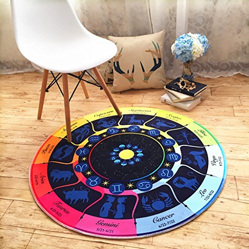 Teppiche Weich und dick rund Bereich Teppich, Constellation Teppich Wohnzimmer Kinderzimmer Nachttisch Decke Cartoon rund Teppich, B, ROUND-80CM (Teppich Bereich Geometrischen)