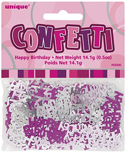 Generique - Grau- Rosafarbendes Happy Birthday Konfetti 14g