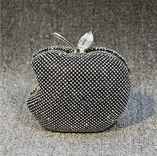Kotiger Lady donne Apple Shape wedding Partyluxury sera frizione borsa a tracolla trucco borsa con catena, White,白色 Black