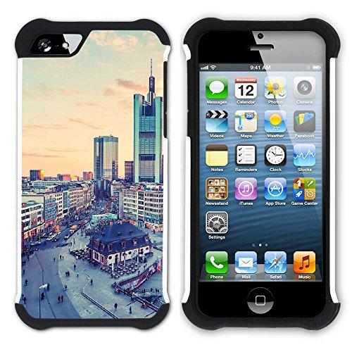 Graphic4You Frankfurt Deutschland Postkarte Aussicht Hart + Weiche Kratzfeste Hülle Case Schale Tasche Schutzhülle für Apple iPhone SE / 5 / 5S Design #3