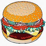 MERRYA Ronde Tapisserie de Plage Pique-Nique Vacance Bord de mer Gigantesque Amusant la Nappe Tapis Couvre-lit Châle,Hamburger