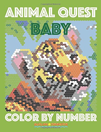 BABY ANIMAL QUEST Color by Number: Activity Puzzle Coloring Book for Adults Relaxation & Stress Relief: Volume 3 (Quest Color By Number Books)