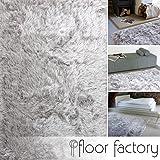 floor factory Hochflor Shaggy Teppich Prestige silber grau 160x230 cm - superweicher flauschiger Langflor Teppich
