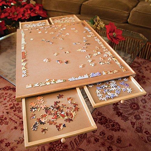 Bits and Pieces - Puzzleplateau aus Holz, Jumbo Größe - Ebene Arbeitsfläche mit Vier Schubladen - Puzzle-Speichersystem - Puzzleunterlage - Puzzlematte