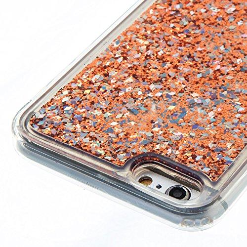 iPhone 6S Plus Hülle, iPhone 6 Plus Silikon Schutzhülle, Anfire Bling 3D Transparent Handy Case Hülle für iPhone 6 Plus 6S Plus (5.5 Zoll) Weich TPU Silikon Schutzhülle Kreativ Dynamisch Treibsand Liq Gold