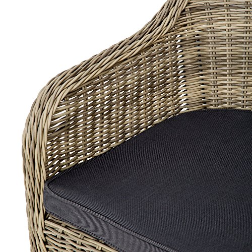 TecTake Luxury aluminium wicker chair seat armchair garden conservatory poly rattan natural + 2 cushions