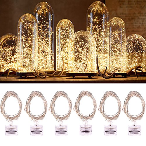 6PCS Fairy Lights, Jeasun CSL6 2M 20 LEDs Battery Operated String Lights Micro LED Battery Powered Indoor Starring Lights on Copper Wire Waterproof for Bedroom Wedding Party DIY Bottle Decoration, Warm White Test
