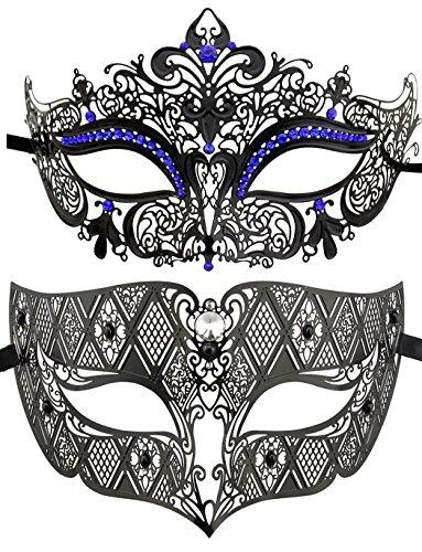 Coppia di maschere veneziane, di lusso, da principessa, per feste black