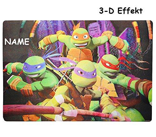 Turtles  - 3-D Unterlage - 42 cm * 29 cm incl. Name - Tischunterlage / Platzdeckchen / Malunterlage / Knetunterlage / Eßunterlage - He.. ()