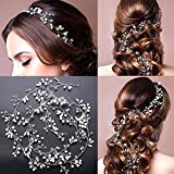 Amorar Chaîne de cheveux en cristal Bande de cheveux tressés, Bijoux de cheveux perlés de mariage Chaîne de cheveux accessoires de cheveux pour cheveux de mariée manuel