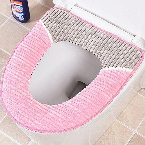 JINSANSHUN Winter Wärmer Corduroy WC-Sitzmatte Sitzbezüge Plüsch Weichsitz Deckel Pads Deckelbezug mit PU-wasserdichte Boden fuer Badezimmer - Pink
