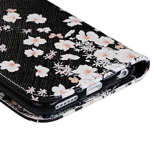 Mavis's Diary iPhone 6 Plus/6s Plus(5,5 Zoll) Case Tasche PU Ledercase Weiß Blumen Cover Hüllen Schutzhülle Scratch Bumper Fall Euit Bookstyle Magnetverschluss Telefon-Kasten Handyhülle Standfunktion  Weiß Blumen