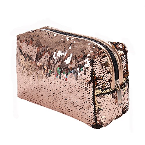 Sunday Kosmetiktasche Klein Paillette Tasche Damen Geldbörse Schminktasche Corssbody Tasche Handtasche Makeup Tasche (15 * 16 * 8.5cm, Gold) -