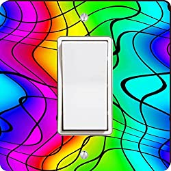 Rikki Knight Chromatic Rainbow Waves Single Rocker Light Switch Plate