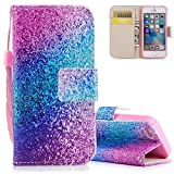 Aeeque Pretty Blue Purple Glitter Wallet Case for iPhone 5 5S SE 4.0 inch, Premium PU Leather Bookstyle Kickstand Function with Credit Card Slots Soft Silicone Shockproof Protection Holster