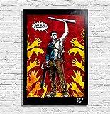 Ash Williams da Evil Dead: L'armata delle tenebre (Sam Raimi, Bruce Campbell) - Quadro Pop-Art Originale con Cornice, Dipinto, Stampa su Tela, Poster, Locandina, Horror, Halloween