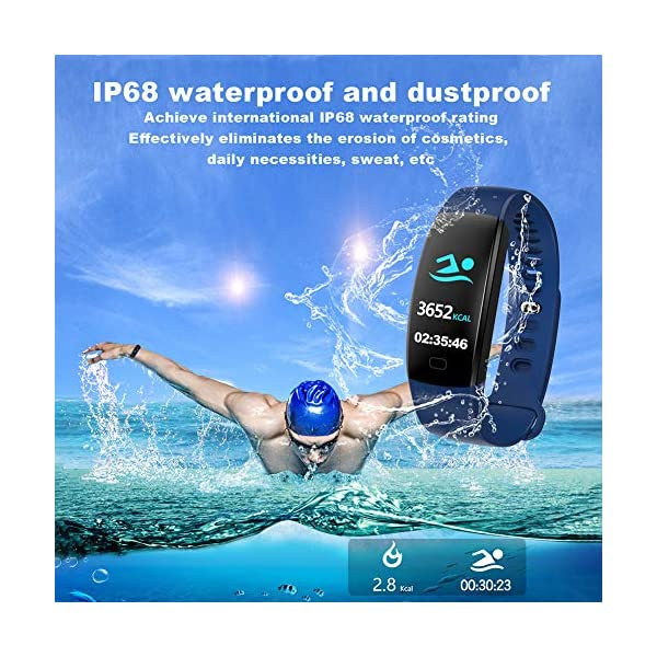 Pulsera impermeable Bluetooth 4.0fitness Tracker podómetro Monitor de ritmo cardiaco del sueño mallalah deporte reloj Smart Watch, color Negro 10