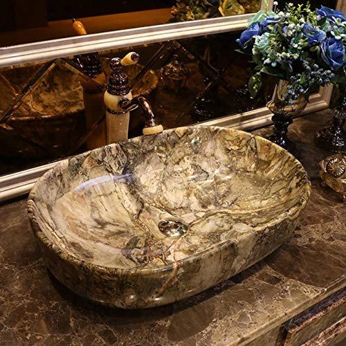 Arbeitsplatte Eitelkeit (Gorheh Porzellan Bad Eitelkeit Waschbecken Schüssel Arbeitsplatte Runde Waschbecken Waschbecken Ovale Form Graue Farbe)