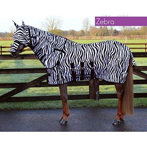 QHP Fliegendecke mit Hals + Hut 3 Bauchgurte Frontverschluss (145 cm, Zebra) - Weiß Kopfteil