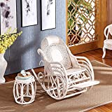 SEEKSUNG Stuhl, Sessel aus natürlichem, grünem Rattanholz, Sessel aus europäischem Echt-Rattan, Sessel aus Schaukelstuhl, Erwachsenen-Nickerchen aus Korbstuhl, Stuhl aus weißem Massivholz