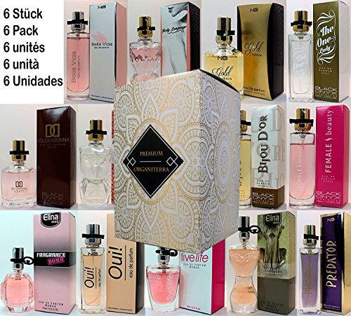 Set de 6 (seis) Perfumes Para Mujer 15ml Cada uno en Caja individual con Atomizador. (Eau de Parfum)