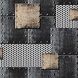 ZHAORLL Feuille De Fer Rétro Industrielle Feuille De Fer À Souder Soudure PVC Papier Peint Studio Café Restaurant Non-Auto-Adhésif 53 CM * 10 M