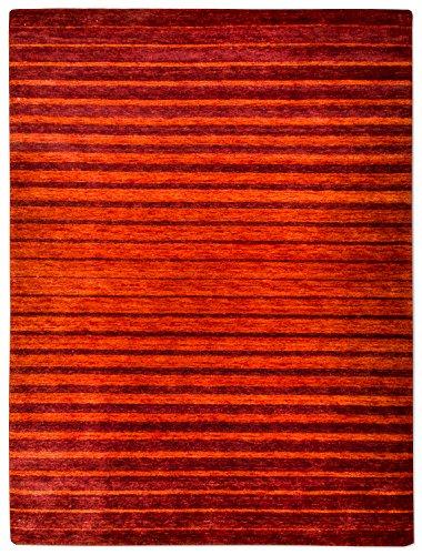 Morgenland Gabbeh NERIO Teppich Modern 140 x 70 cm Brücke Rot Orange Handgearbeitet 100% Schurwolle Weich und Dicht Fusselfrei Wollteppich Gestreift Viele Größen -