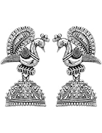 48a9db8e8 Shreyadzines Designer Traditional Oxidized Silver Peacock Design Jhumka  Jhumki Earrings for Women and Girls
