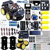 Elegoo Kit Voiture Robot Carte Arduino-Compatible UNO R3 Projet Car Avec Tutoriel en Français avec UNO R3, Module de Suivi de Ligne, Capteur Ultrason, Module Bluetooth ect. Dernière Voiture Jouet Educatif et Intelligent pour Adolescent