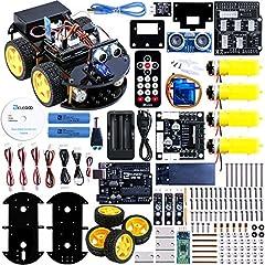 Idea Regalo - ELEGOO UNO R3 per Arduino Progetto di una Piccola Robot Auto Car V2.0 con Tutorial in Italiano con UNO R3, Modulo Segui Linea, Sensore a Ultrasuoni, Modulo Bluetooth ecc. Lultimo Gioco Intelligente ed Educativo per Bambini