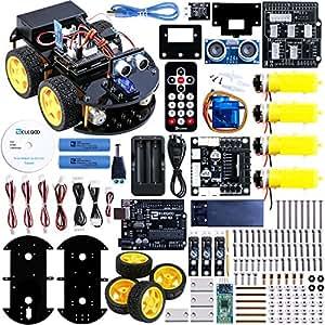 ELEGOO Kit Voiture Robot V2.0 Carte Arduino-Compatible UNO R3 Projet Car Avec Tutoriel en Français avec UNO R3, Module de Suivi de Ligne, Capteur Ultrason, Module Bluetooth ect. Dernière Voiture Jouet Educatif et Intelligent pour Adolescent