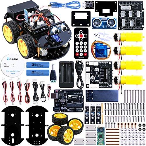 ELEGOO Kit Voiture Robot V2.0 Carte Arduino UNO R3 Projet Car avec CD Tutoriel en Français, UNO R3, Module de Suivi de Ligne, Capteur Ultrason, Module Bluetooth, Télécommande ect - Voiture Jouet Educatif et Intelligent pour Adolescent et Adulte