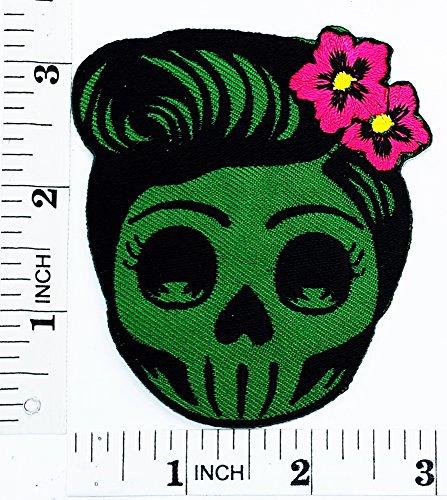 Flower Sugar Skull (grün) Tag der Toten Lady Rider Motorrad Patch Hand bestickt und Bügelbild Symbol Jacke T-Shirt patches aufnäher Zubehör (Patch Flower Tote)