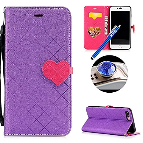 Etsue iPhone 8 Plus/iPhone 7 Plus Wallet Case,iPhone 8 Plus/iPhone 7 Plus Flip Case, Cute Retro Design Love Heart Pattern Pu Leather Flip Case Wallet Cover Book Style Type with Stand Card Holder Wrist Strap Magnetic Closure for iPhone 8 Plus/iPhone 7 Plus + Blue Stylus Pen+Bling Glitter Diamond Dust Plug(Colors Random)-Love
