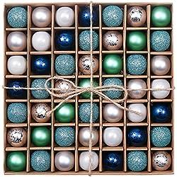 Valery Madelyn Weihnachtskugeln 3CM 49 Stücke Blau Grün Silber Der Nordstern Thema Glänzend Glitzernd Matt aus Kunststoff Christbaumkugeln mit Aufhänger Weihnachtsbaumschmuck Weihnachten Dekoration