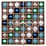 Valery Madelyn 49-pc Winter Wishes Natale Dreamlike Inverno Blu e Argento Break Oak Palle di Natale, centrotavola, compresi 49 Ganci