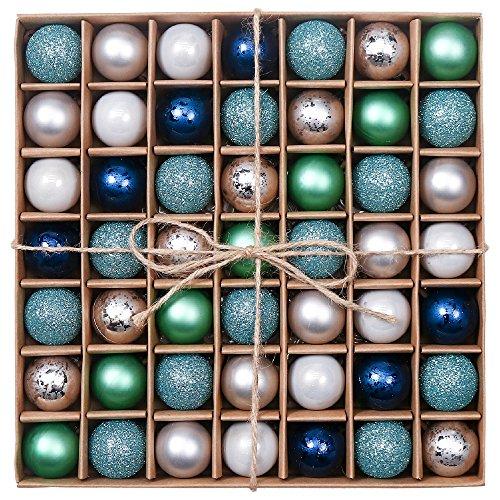 Valery Madelyn Weihnachtskugeln 49 Stücke 3CM Kunststoff Christbaumkugeln Weihnachtsdeko mit Aufhänger Glänzend Glitzernd Matt Baumschmuck Der Nordstern Thema Blau Grün Silber MEHRWEG Verpackung