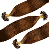 Extensiones de Cabello Natural Queratina Pelo 100% REMY - U/Nail-Tip Hair Extensions—100 mehcas por conjunto(#6 Marrón claro 50cm 50g)