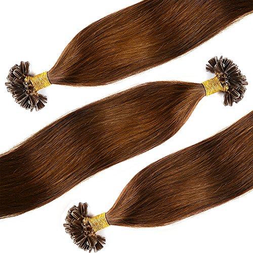 Extensions Echthaar Bondings Remy Haarverlängerung U-Tig 100 Strähnen per Echthaarsträhne 0,5g 55cm(#6 Mittelbraun)