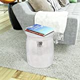 Anself Hammered Aluminium Round Side Table Stool Silver