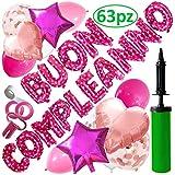 Blue Confetti  Addobbi per Festa di Compleanno da Bambina , Scritta Buon Compleanno in Italiano + Pompetta + Palloncini Rosa Bianchi e Fucsia - Set Palloncini Compleanno Bambina Rosa